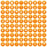 100 geography icons set orange. 100 geography icons set in orange circle isolated vector illustration Royalty Free Illustration