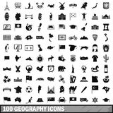 100 geography icons set, simple style. 100 geography icons set in simple style for any design vector illustration Stock Photos