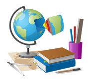 Geography Lesson Related Elements Cartoon Globe. Geography lesson related elements as cartoon style globe, graphite pencil and compass on world map along with Stock Images