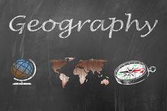 Geography lesson on school blackboard concept Stock Image