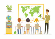 Geography lesson at school - modern cartoon people characters illustration. With children listening to a young teacher, raising hands. Classroom with different vector illustration