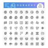 Geography Line Icons Set. Set of 56 geography line icons suitable for web, infographics and apps. Isolated on white background. Clipping paths included Royalty Free Stock Photo