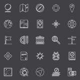 Geography line icons set Royalty Free Stock Photos