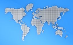 Geography map. Blue and grey geography map, 3d illustration Stock Photography