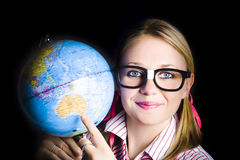 Geography school student learning about world Royalty Free Stock Photos