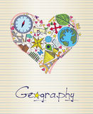 Geography in shape of heart Royalty Free Stock Photos