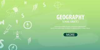 Geography subject. Back to School background. Education banner. Royalty Free Stock Photo