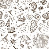 Geography symbols seamless pattern. Equipments for web banners background. Vintage outline sketch for web banners royalty free illustration