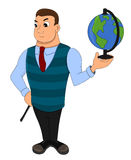 Geography teacher cartoon Royalty Free Stock Photos