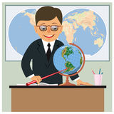 Geography teacher in the classroom Stock Images