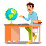 Geography Teacher In Glasses Sitting At Table With Books And Globe Vector. Isolated Illustration. Geography Teacher In Glasses Sitting At Table With Books And stock illustration