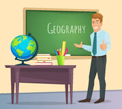 Geography teacher stands at the blackboard. And a lesson. Education school concept background. Vector illustration of a flat design Royalty Free Stock Image