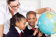 Geography teacher and students Royalty Free Stock Photography