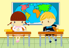 Geography test. Illustration about a little boy copying from his school friend geography test Stock Photos