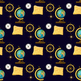 Geography themed seamless pattern. Back to school collection. Geography themed seamless pattern on dark blue background with school globe, map, compass, wind Stock Photos