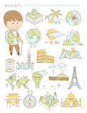 Geography and travel, teacher geographer Doodle. Style icons big set vector illustration Royalty Free Stock Photos