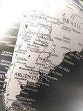 Geography of the world map in black and white. stock image