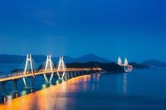 Geoje opłaty drogowa most od góry Zdjęcie Royalty Free