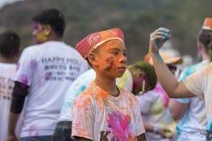 Geoje, SOUTH KOREA - MARCH 2018: Holi festival. Korean child at Holi festival Stock Images