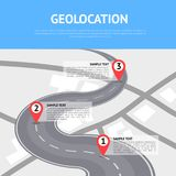 Geolocation concept with pin pointers. On asphalt road. Cartography mapping, ui pinning, geotag positioning, GPS navigation system banner. Location pin on Royalty Free Stock Photo