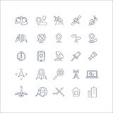 Geolocation, global positioning system and navigation line vector icons set Stock Photo
