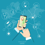Geolocation gps navigation touch screen mobile Stock Photography