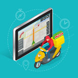 Geolocation gps navigation touch screen tablet and Fast delivery service Royalty Free Stock Photography