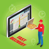 Geolocation gps navigation touch screen tablet and Fast delivery service. Pizza delivery concept. Flat 3d vector Royalty Free Stock Image