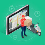 Geolocation gps navigation touch screen tablet and Fast delivery service. Royalty Free Stock Image