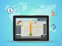 Geolocation gps navigation touch screen tablet. World Map. Stock Images