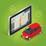 Geolocation gps-NavigationsTouch Screen Tablette Bewegliches GPS-Navigationskonzept Isometrische Illustration des flachen Vektors Stockfotos