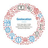 Geolocation Navigation Banner Card Circle. Vector. Geolocation Navigation Banner Card Circle Web and App Include of Pin, Pointer, Road and Flag. Vector Stock Photos