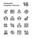 Geolocation, navigation, trip icons for web and mobile design pack 2 Stock Photography