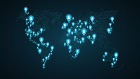 Geolocation of users on the world map. Planet Earth. America, Asia, Africa, USA. Blue markers with user icons. Map of points. Glob Stock Images