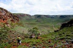 Geologe Prospecting für Eisenerz - Pilbara - Australien lizenzfreie stockfotografie