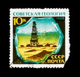 Geologia, óleo, torre do petróleo, cerca de 1968 fotografia de stock royalty free