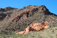 Geologia di geologia di Pinto Valley in lago Mead Recreational Area, Nevada immagini stock libere da diritti