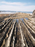 Geologic folds in Zumaias beach Royalty Free Stock Images