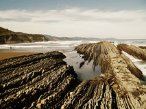 Geologic folds in Zumaias beach. Basque Country Stock Image
