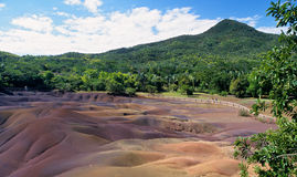 Geologic formation of Chamarel. Called Seven colored earth.  Mauritius Island Stock Image