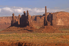 Geologic Formations in Monument Valley. The is a view of Monument Valley - Yei Bi Chei and Totem rock spires royalty free stock images