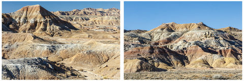 Geologic formations willwood western desert collage. Geology collage of badlands background formations has eroded hot dry soil and hills of formations in sun Royalty Free Stock Photo