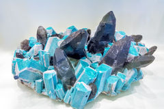 Geologic minerals Microcline and smoky quarts Stock Photo