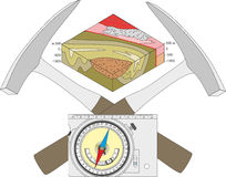 Geological compass, geological hammer and a block diagram. royalty free illustration