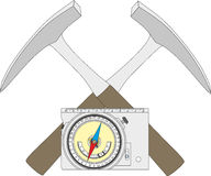 Geological compass, geological hammer and a block diagram. Royalty Free Stock Photos