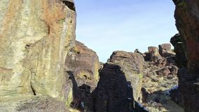 Geological feature of rock pinnacles that rise from a southern Idaho desert floor