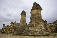 Geological features in Cappadocia, Turkey. stock photos