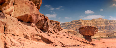 Geological formation in Timna park, Israel Royalty Free Stock Photos