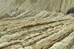 Geological Formations In Beach Of The Flysch Type Geopark Basque Route UNESCO. Filmed Game Of Thrones. Itzurun Beach. Geology Land. Scapes Travel. Zumaia royalty free stock photo