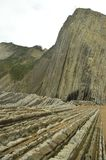 Geological Formations In Beach And Mountain Of Flysch Type Geopark Basque Route UNESCO. Filmed Game Of Thrones. Itzurun Beach. Geo. Logy Landscapes Travel stock photo